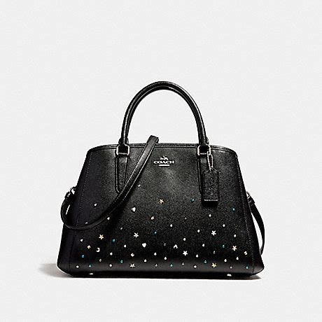 Coach Small Margot Carryall Black coach f23235 small margot carryall with stardust studs silver black coach handbags