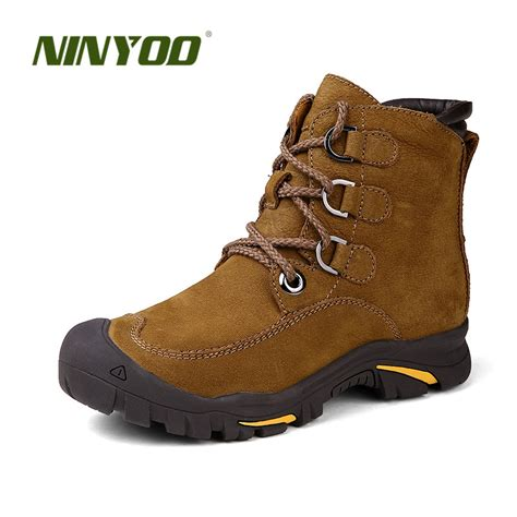 Genuine Leather Ankle Snow Boots ninyoo wearproof winter boots genuine leather snow