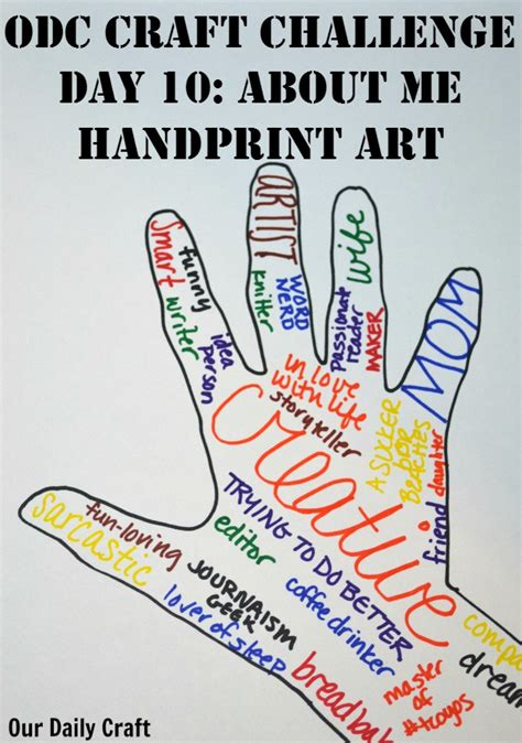 arts and crafts me about me handprint craft challenge day 10 our