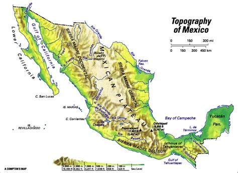 topographic map mexico mexico topographic regions students britannica