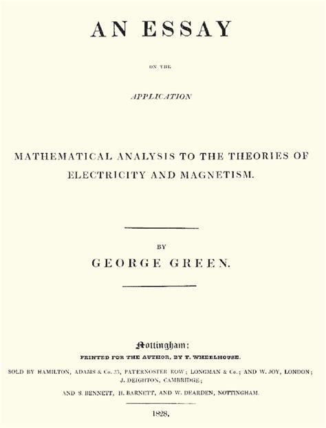 Gw Application Essay by George Green Molino A La Universidad Matemolivares