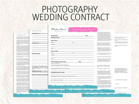 wedding photography template wedding photography contract business forms flowers editable