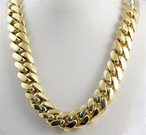 cadenas cubanas 14k 466 00gm 14k solid yellow gold men s miami cuban chain