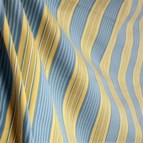 Blue And Yellow Upholstery Fabric by Cyclamen Waterway Blue Yellow Green Stripe Fabric