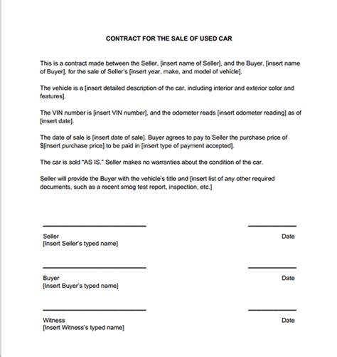 Sle Agreement Letter For Buying A Car Used Car Sales Contract Sle Contracts
