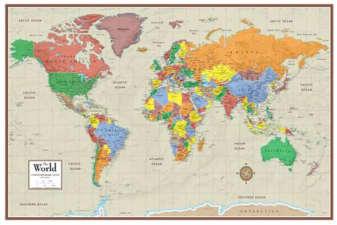 the map in contemporary elite world wall map poster mural
