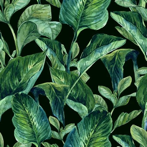 watercolor seamless background  tropical leaves