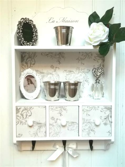 Shabby Chic Wall Shelf by Shabby Chic Wall Unit Shelf Storage Cupboard Cabinet Hooks Vintage Style Amazing Grace