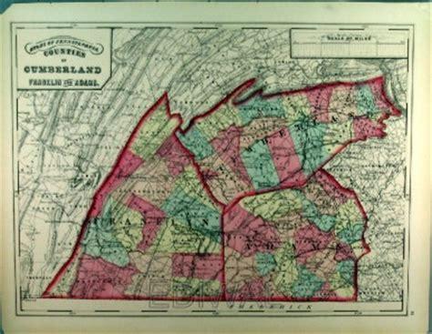 1872 pennsylvania county map cumberland franklin adams map counties of cumberland franklin and adams pa ebay