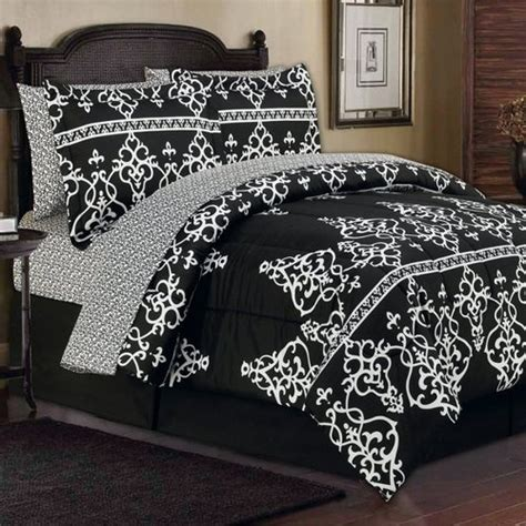 8pc king toile damask black white arabesque