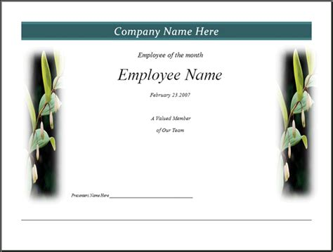 employee of month template free employee recognition clip studio design