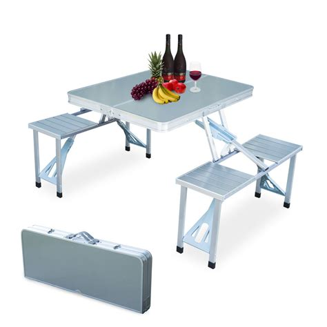 folding picnic bench table new outdoor garden aluminum portable folding cing