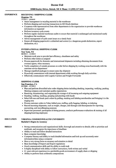 Shipping Clerk Resume by Shipping Clerk Resume Sles Velvet