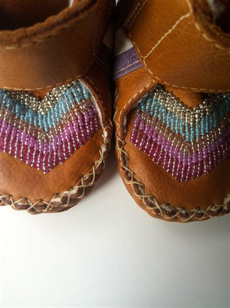 Handmade Leather Moccasin Boots - baby and toddler velcro handmade leather beaded wool lined