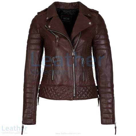 womens brown leather motorcycle brown quilted jacket biker women quilted leather jacket