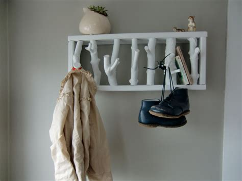 wall tree branch coat rack with shelf design idea
