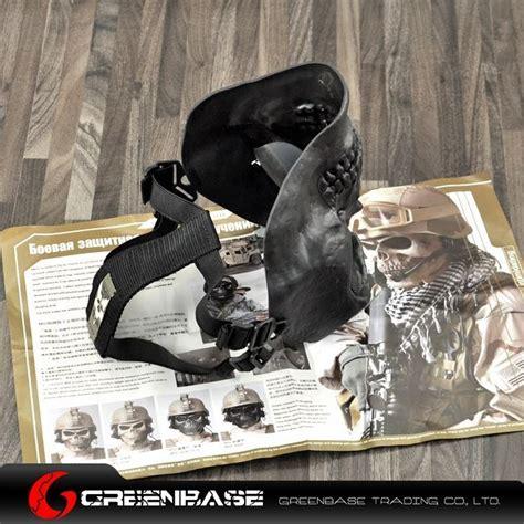 Diskon M03 Cacique Soldiers Skeleton Half Mask Black Gold Bagus m02 soldiers mask to protect the skeleton black gb10237 ar 15 ak 47 dot scope gun