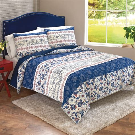 Floral Patchwork Bedding - better homes and gardens blue floral patchwork banded