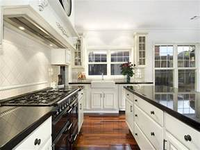 Galley Kitchen Ideas Classic Galley Kitchen Design Using Floorboards Kitchen