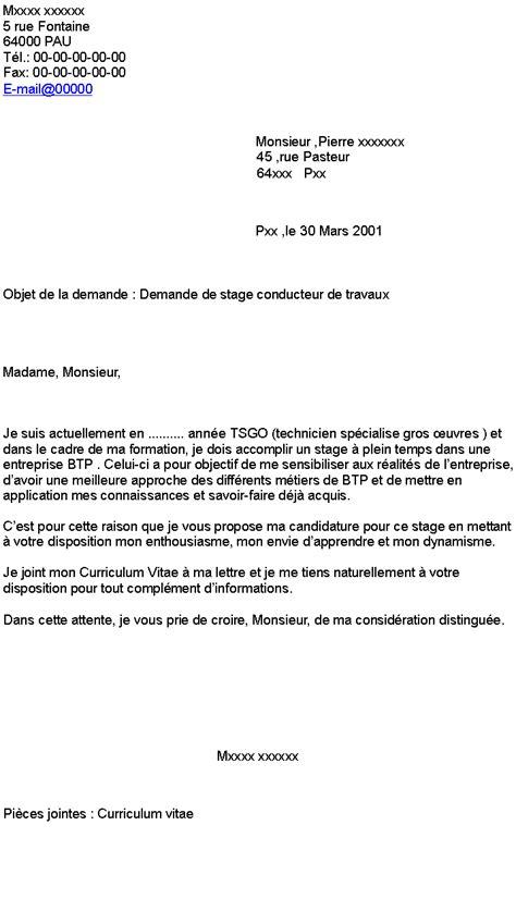 Lettre De Motivation Stage Travaux Publics Demande De Stage Conducteur De Travaux