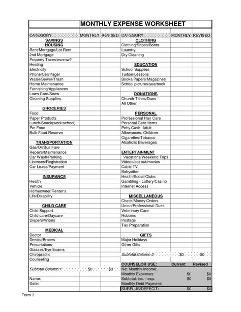 Printable Income And Expense Worksheet by Worksheet Spending Plan Worksheet Caytailoc Free