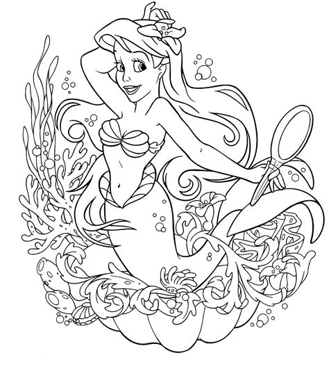 Mermaid Birthday Party Coloring Pages Mermaid Coloring Page