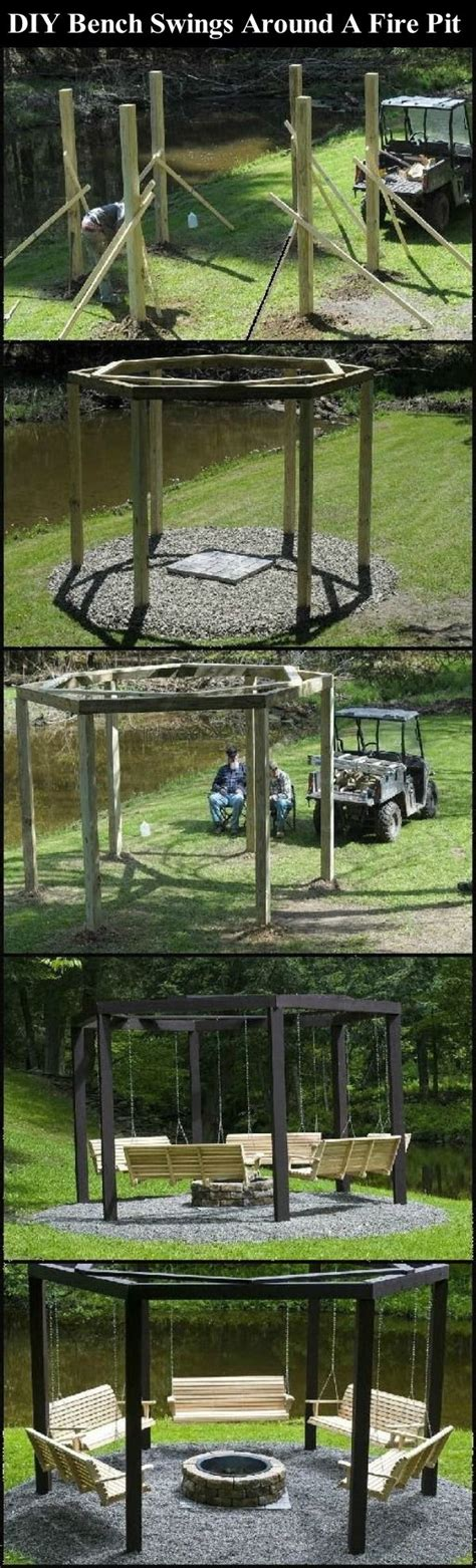 bench swing fire pit diy bench swings around a fire pit pictures photos and