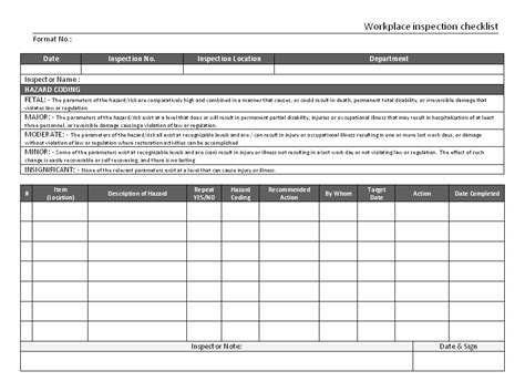 ohs inspection checklist template ohs inspection checklist template images template design