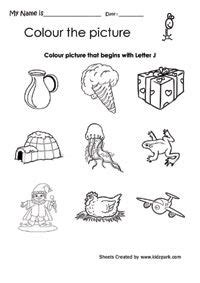 color that begins with j color the picture that begins with j worksheet pre school