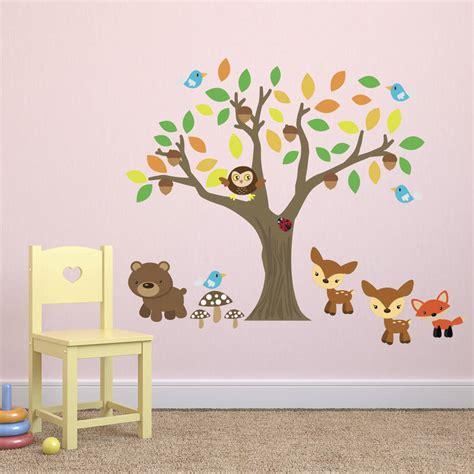 Woodland Animals Wall Stickers autumn tree with woodland animals wall sticker by mirrorin