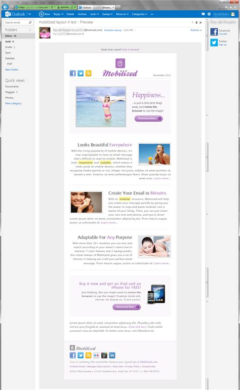 hotmail email template mobilized i responsive modular email templates by