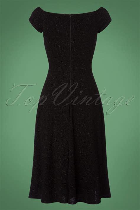 glitter swing dress 50s alma short sleeve swing dress in black glitter