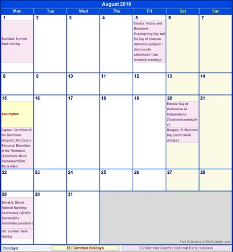 Calendar 2016 August Free Printable Calendar Templates 2016