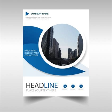 blue circular creative business brochure design vector