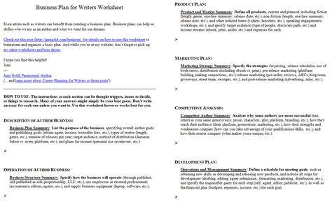 Worksheets For Writers Jami Gold Paranormal Author Performing Arts Business Plan Template