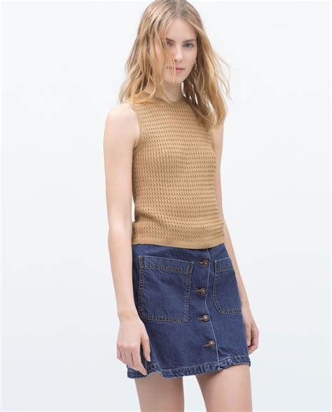 Ca161 New Rope Knit Top zara new this week cable knit crop top roma stuff cable zara and crop tops