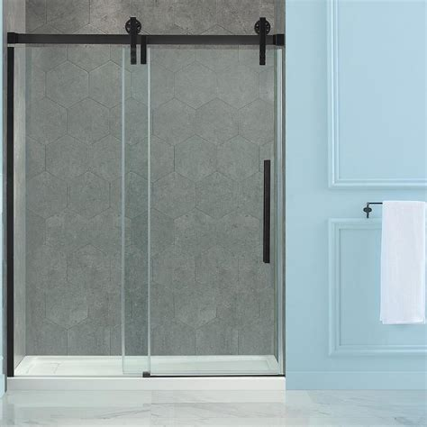 Bronze Shower Doors Frameless Shop Ove Decors Sedona 58 25 In To 59 25 In W Frameless Rubbed Bronze Sliding Shower Door At