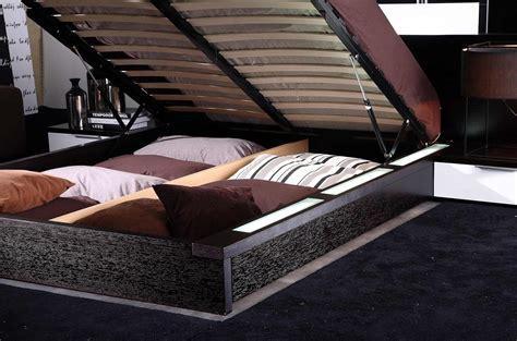 gamma modern platform bed with air lift storage black design co