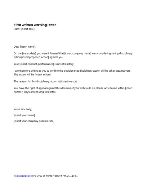 first written warning letter template letter template 2017