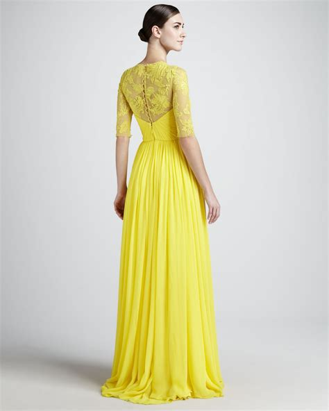 Yellow Evening Gowns Wedding by Free Shipping Designer Lace Floral Neck Pleated Half