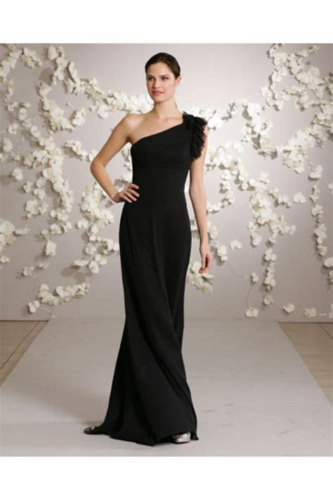 Black Bridesmaid Dresses by Sheath One Shoulder Black Chiffon Formal Occasion