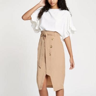 beige paperbag button front pencil skirt midi skirts