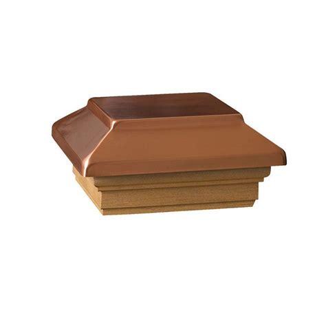 copper l post tops deckorail 4 in x 4 in wood victoria copper flat plateau