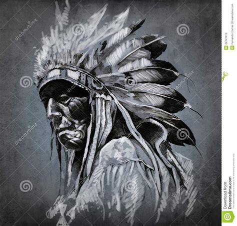 tattoo art portrait of american indian head stock