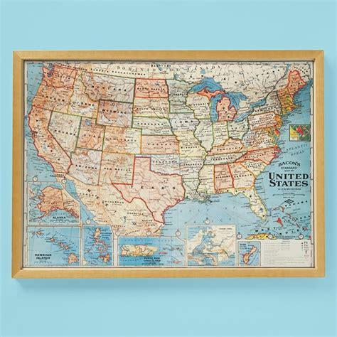 vintage framed usa map wall