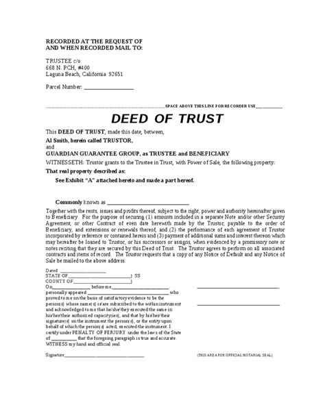 deed of sale template blank deed of trust hashdoc