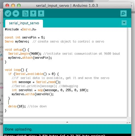 code arduino java controlling a servo motor from a processing program