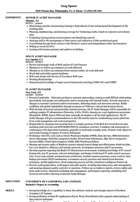 Audit Director Sle Resume by It Audit Manager Resume Sles Velvet