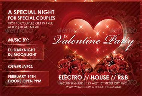 valentines event 20 valentines flyer template collection