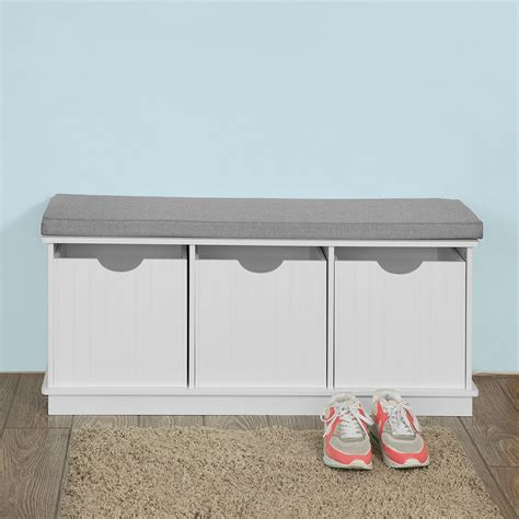 Storage Bench With Cushion Sobuy 174 Storage Bench Shoe Cabinet Hallway Seat With Drawer Cushion Fsr30 W Uk Ebay